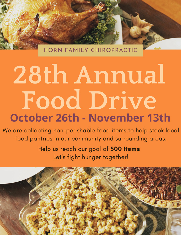 28th Annual Food Drive at Horn Family Chiropractic