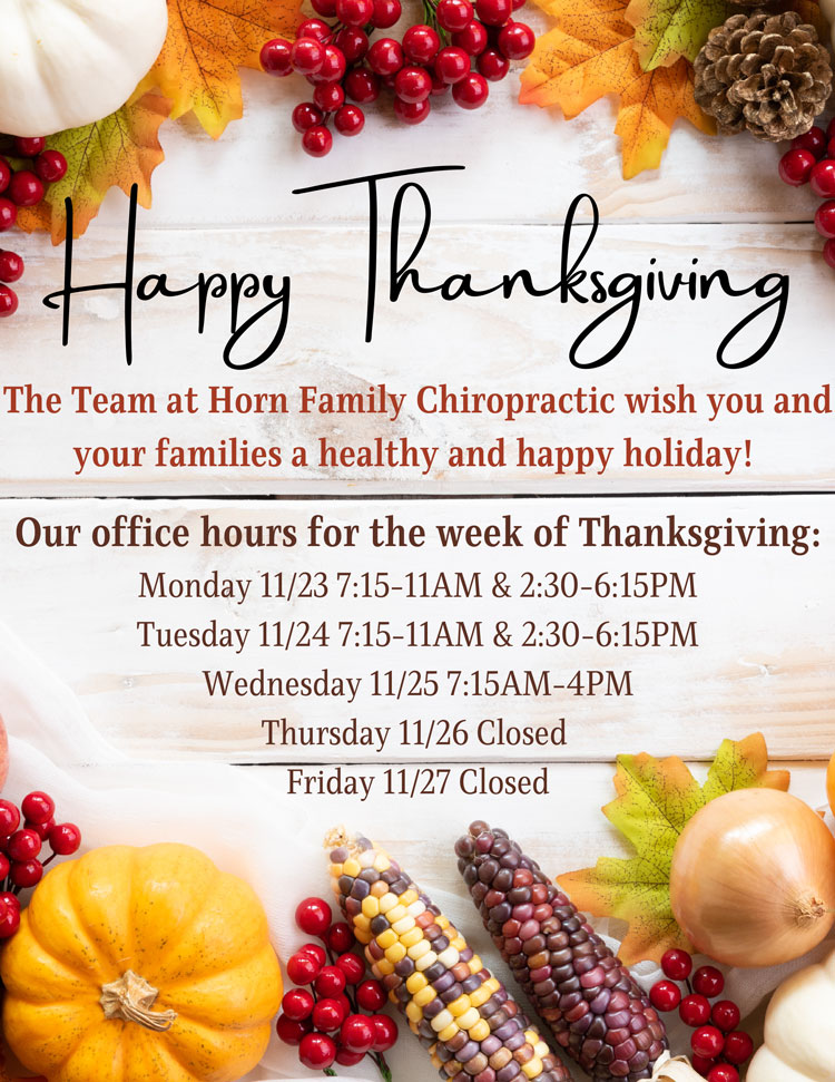 Happy Thanksgiving From Horn Family Chiropractic